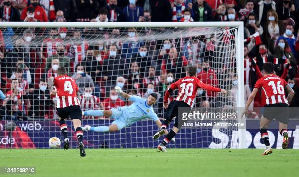 Iker Muniain of Athletic Bilbao scores their team's second goal from the penalty spot during the LaLiga Santander match between Athletic Club and...