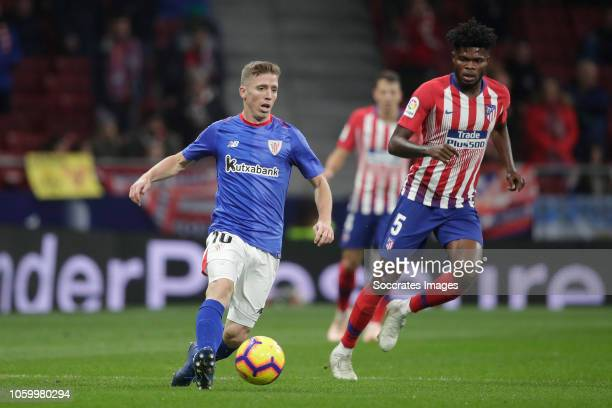 Iker Muniain of Athletic Bilbao Thomas of Atletico Madrid during the La Liga Santander match between Atletico Madrid v Athletic de Bilbao at the...