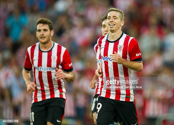 Iker Muniain of Athletic Club Bilbao celebrates after scoring during the La Liga match between Athletic Club and Levante UD at San Mames Stadium on...