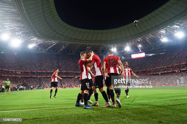 Iker Muniain of Athletic Club celebrates after scoring during the La Liga match between Athletic Club and Real Sociedad at San Mames Stadium on...