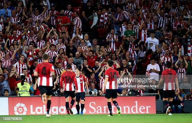 Iker Muniain of Athletic Club celebrates after scoring goal during during the La Liga match between Athletic Club Bilbao and Real Madrid at San Mames...