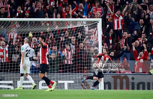 Iker Muniain of Athletic Club celebrates after scoring goal during the Copa del Rey SemiFinal 1st Leg match between Athletic Bilbao and Granada at...