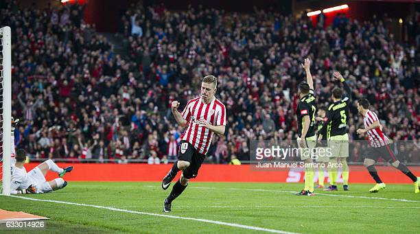 Iker Muniain of Athletic Club celebrates after scoring goal during the La Liga match between Athletic Club Bilbao and Real Sporting de Gijon at San...