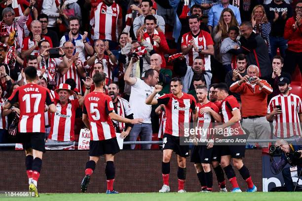 Iker Muniain of Athletic Club celebrates after scoring his team's second goal during the Liga match between Athletic Club and RCD Espanyol at San...