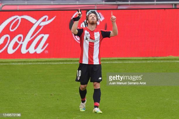 Iker Muniain of Athletic Club celebrates after scoring the opening goal during the Liga match between Athletic Club and Club Atletico de Madrid at...