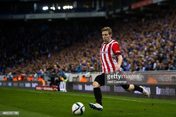 Iker Muniain of Athletic Club kicks the ball during the Copa del Rey SemiFinal Second Leg match between RCD Espanyol and Athletic Club at CornellaEl...