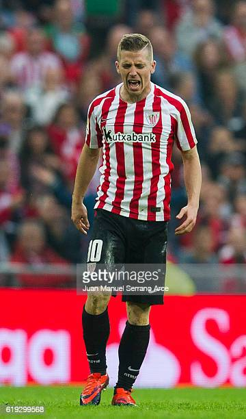 Iker Muniain of Athletic Club reacts during the La Liga match between Athletic Club Bilbao and CA Osasuna at San Mames Stadium on October 30 2016 in...