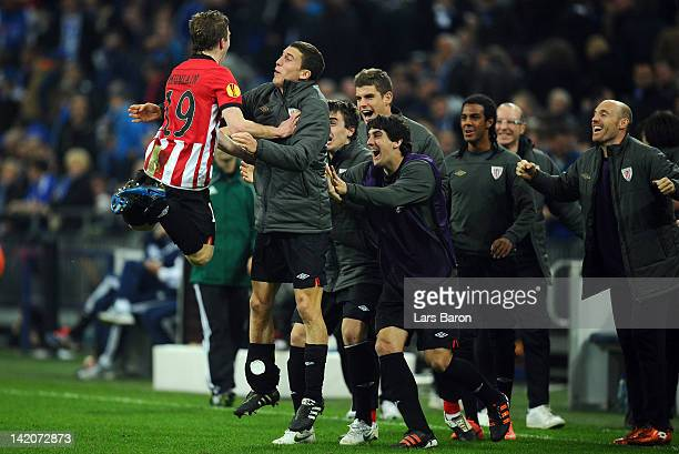 Iker Muniain of Bilbao celebrates with team mates after scoring his teams fourth goal during the UEFA Europa League quarterfinal first leg match...