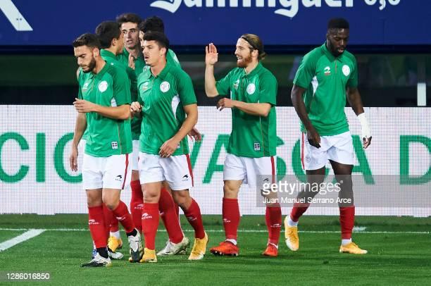 Iker Muniain of Euskadi celebrates after scoring goal during the International Friendly match between Euskadi and Costa Rica at Estadio Municipal de...