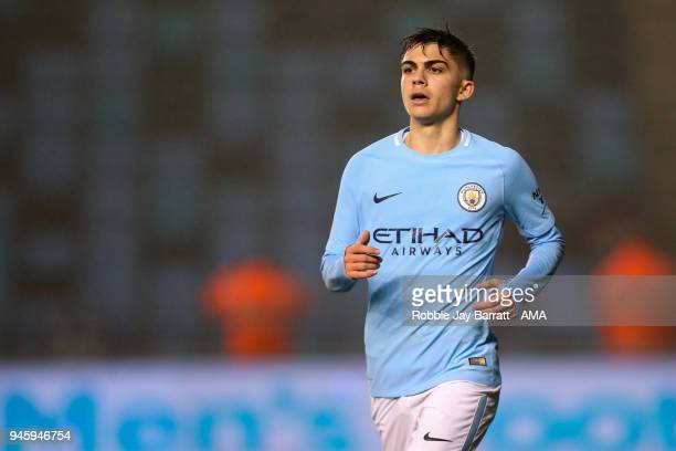 Iker Pozo La Rosa of Manchester City during the Premier League 2 match at Manchester City Football Academy on April 13 2018 in Manchester England