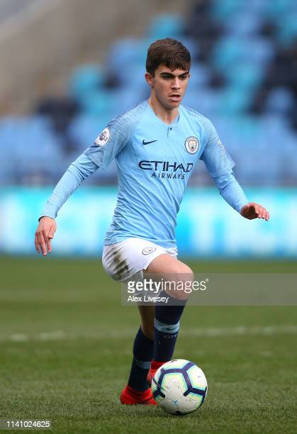 Iker Pozo of Manchester City during the Premier League 2 match between Manchester City and Everton at The Academy Stadium on April 07 2019 in...