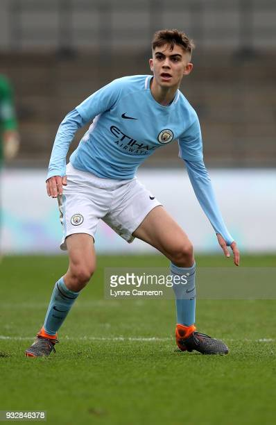 Iker Pozo of Manchester City looks on during the UEFA Youth League QuarterFinal at Manchester City Football Academy on March 14 2018 in Manchester...