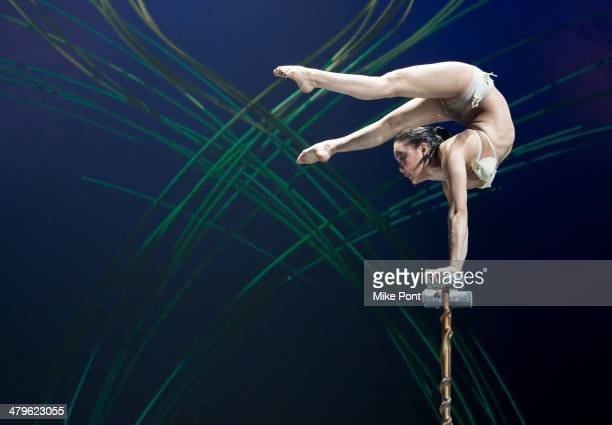 Ikhertsetseg Bayarsaikhan performs during the Cirque Du Soleil Amaluna photo call at Citi Field on March 19 2014 in New York City