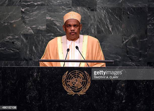 Ikililou Dhoinine President of the Union of the Comoros speaks during the United Nations Sustainable Development Summit at the United Nations General...