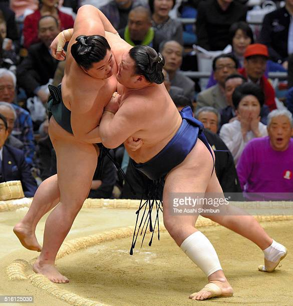 Ikioi pushes Shodai out of the ring to wiin during day five of the Grand Sumo Spring Tournament at the Edion Arena Osaka on March 17 2016 in Osaka...