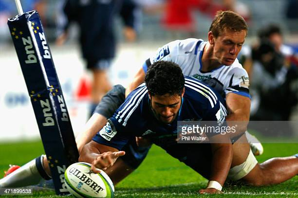 Ikira Ioane of the Blues scores a try during the round 12 Super Rugby match between the Blues and the Force at Eden Park on May 2, 2015 in Auckland,...