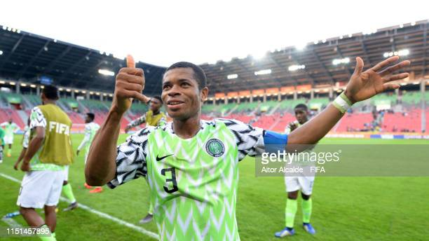 Ikouwem Utin of Nigeria celebrates following his sides victory in the 2019 FIFA U-20 World Cup group D match between Qatar and Nigeria at Tychy...