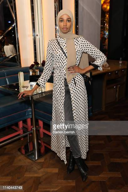 Ikram Abdi Omar attends the Pat McGrath 'A Technicolour Odyssey' Campaign launch party at Brasserie of Light Selfridges on April 04 2019 in London...