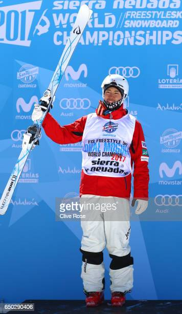 Ikuma Horishima of Japan celebrates winning the gold medal in the Men's Dual Moguls on day two of the FIS Freestyle Ski and Snowboard World...