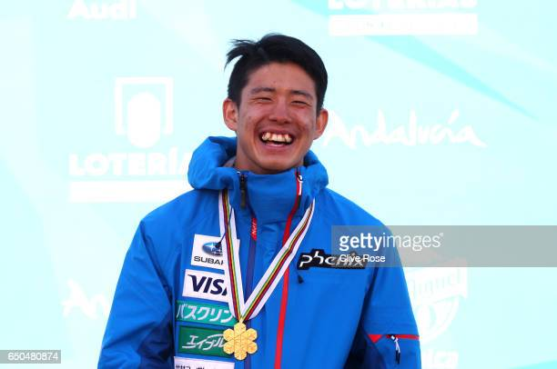 Ikuma Horishima of Japan celebrates with his gold medal after the Men's Dual Moguls on day two of the FIS Freestyle Ski and Snowboard World...