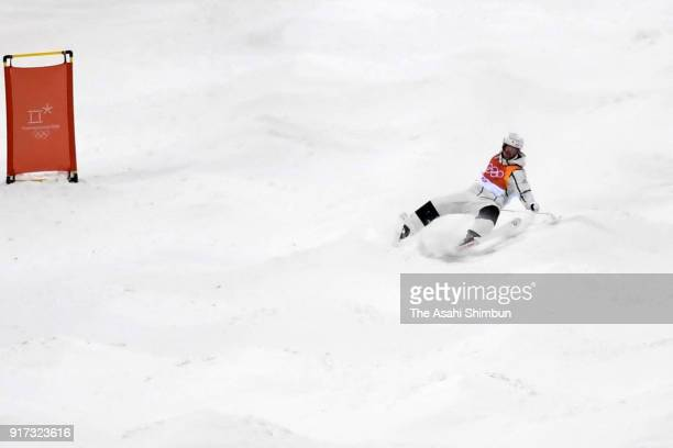 Ikuma Horishima of Japan falls while competing in the Freestyle Skiing Men's Moguls Final 2 on day three of the PyeongChang 2018 Winter Olympic Games...
