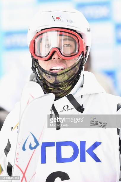 Ikuma Horishima of Japan looks on during day one of the FIS Freestyle Skiing World Cup Tazawako at Tazawako Ski Resort on March 3 2018 in Senboku...
