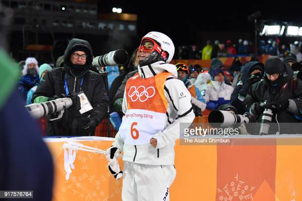 Ikuma Horishima of Japan reacts after falling while competing in the during the Freestyle Skiing Men's Moguls Final 2 on day three of the PyeongChang...