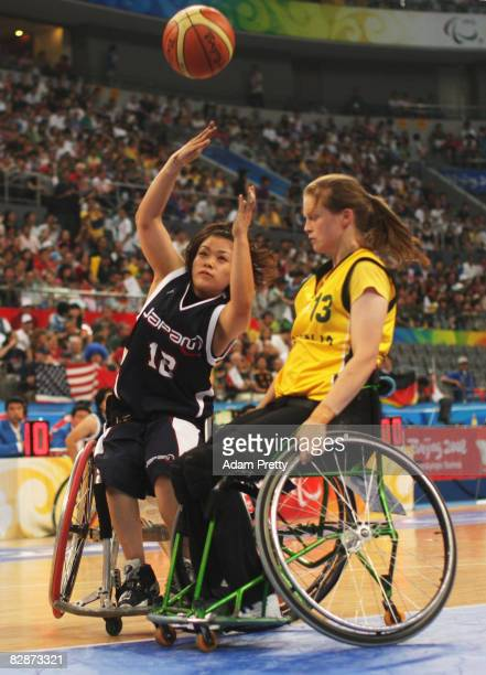Ikumi Takubo of Japan shoots during the Bronze Medal Wheelchair Basketball match between Australia and Japan at the National Indoor Stadium during...