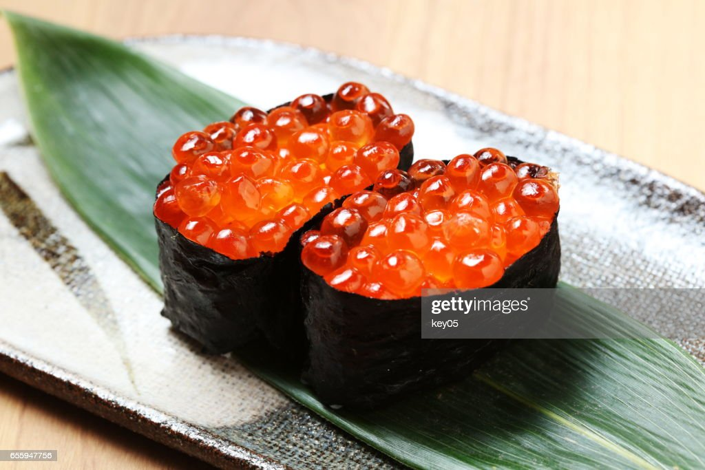 Ikura sushi , ikura with seaweed (Nori), japanese cuisine : Stock Photo