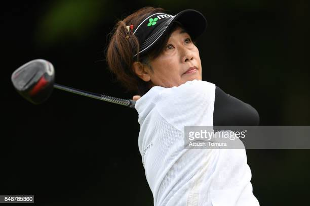Ikuyo Shiotani of Japan hits her tee shot on the 3rd hole during the second round of the LPGA Legends Champioship KRY Cup at Shunan Country Club on...