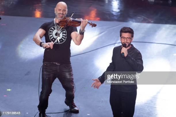Il cantante italiano de Il Volo Piero Barone and Italian actor and dubber Alessandro Quarta during the fourth evening of the 69th Sanremo Music...