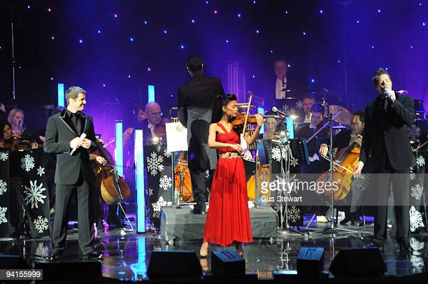 Il Divo and Vanessa Mae perform on stage at Hammersmith Apollo on December 8, 2009 in London, England.