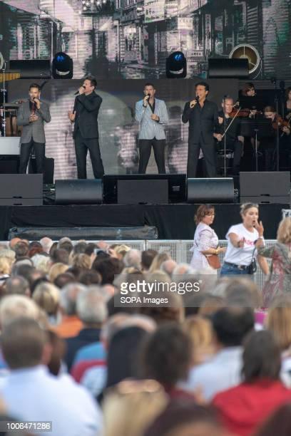 Il Divo group members Carlos Marín David Earl Miller Sébastien Izambard and Urs Bühler seen performing live at Trinity College Dublin