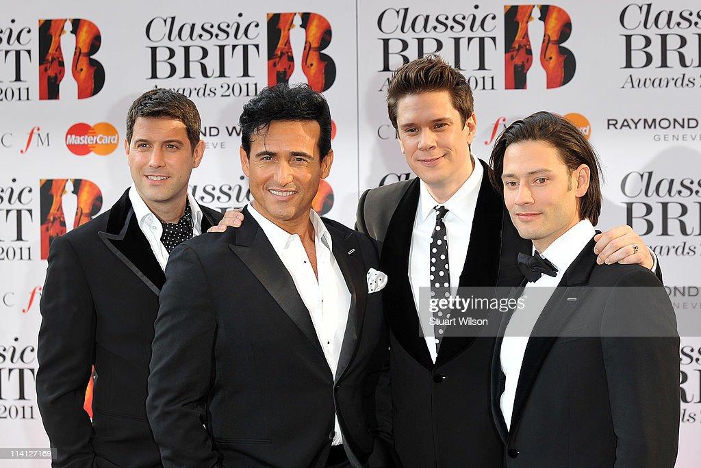 Sebastien Izambard, Carlos Marin, David Miller and Urs Buehler arrive at The Classic BRIT Awards at Royal Albert Hall on May 12, 2011 in London, England.