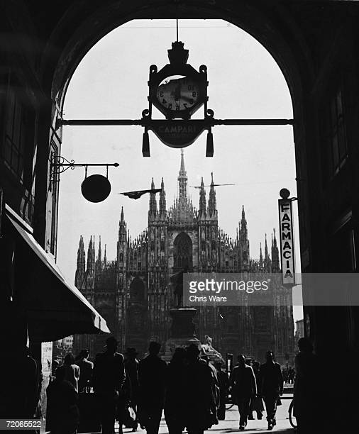 Il Duomo di Milano the Gothic cathedral in Milan as seen from the Galleria Vittorio Emanuele II the city's famous shopping arcade 1947