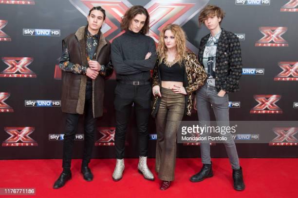 Il gruppo Maneskin al red carpet in occasione della finale della trasmissione televisiva X Factor Italia. Milano, 13 dicembre 2013