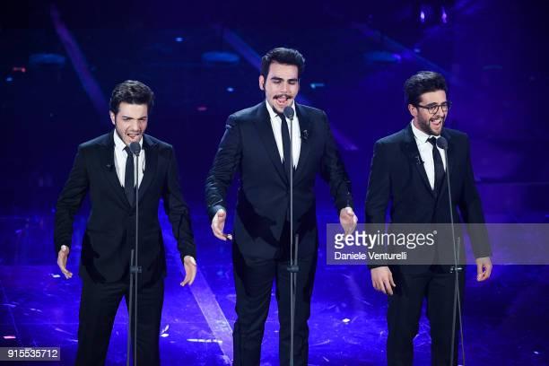 Il Volo attend the second night of the 68 Sanremo Music Festival on February 7 2018 in Sanremo Italy