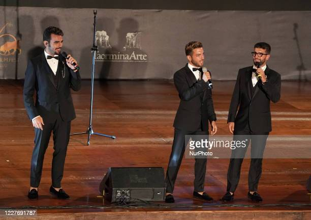 ''Il Volo'' dedicate a musical moment to the memory of Maestro Ennio Morricone in the suggestive ancient theater of Taormina with the presentation of...