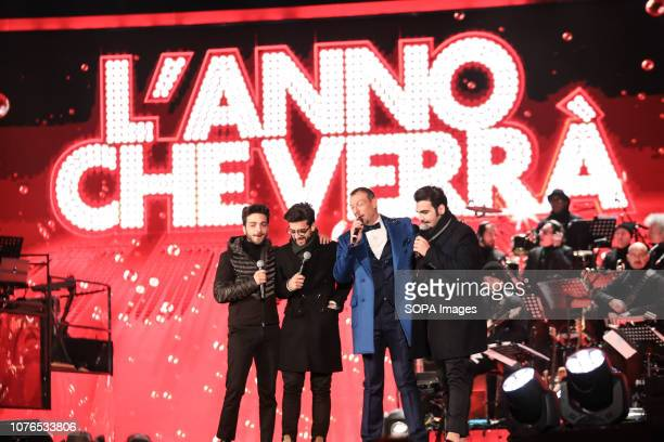 MATERA ITALY MATERA MT ITALY Il Volo seen with Amadeus the presenter performing during Rai1's New Year's television program L'anno che verrà in Matera