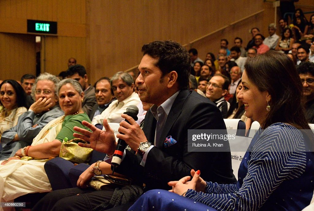 Ila Arun, Anil Dharkar, Jaya Bachchan, Sachin Tendulkar and his wife, Anjali, at the launch of Piyush Pandey's book, Pandeymonium, at the Jamshed Bhabha Theatre (NCPA) on October 14, 2015 in Mumbai, India.