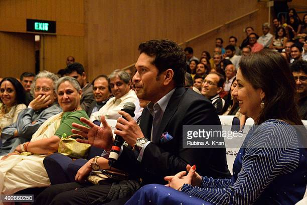 Ila Arun Anil Dharkar Jaya Bachchan Sachin Tendulkar and his wife Anjali at the launch of Piyush Pandey's book Pandeymonium at the Jamshed Bhabha...