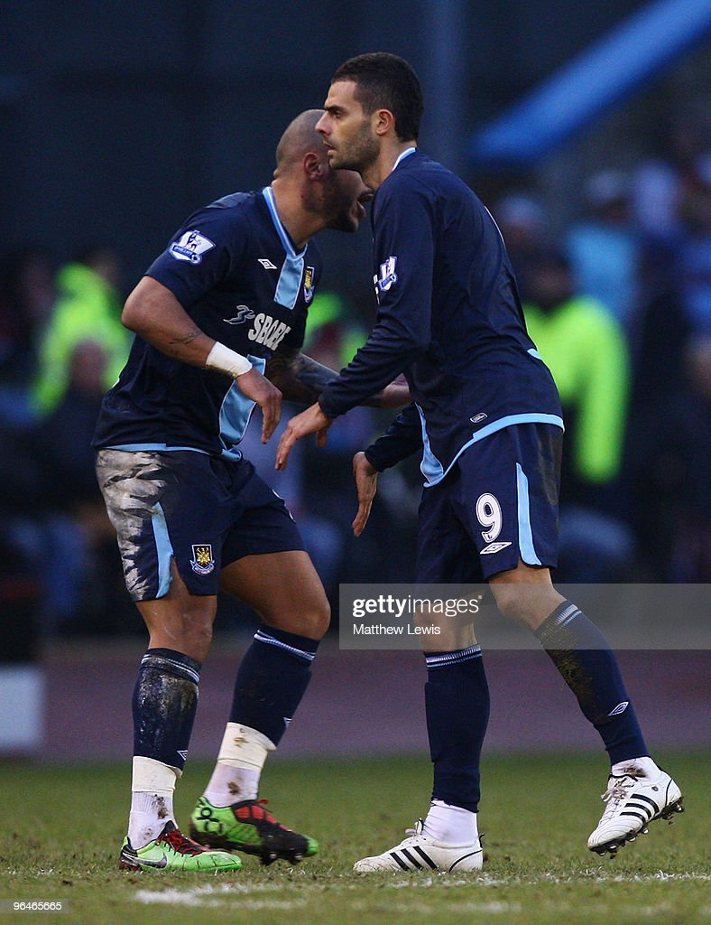 Ilan of West Ham United is congratulated on his goal by Julian Fauber during the Barclays Premier League match between Burnley and West Ham United at Turf Moor on February 6, 2010 in Burnley, England.