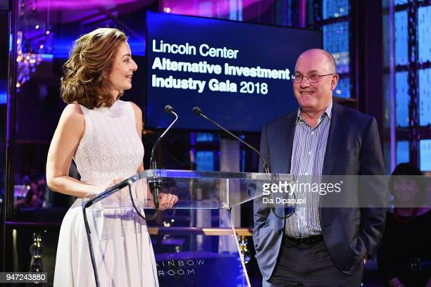 Ilana D Weinstein and Bennett J Goodman speak onstage during the Lincoln Center Alternative Investment Industry Gala on April 16 2018 at The Rainbow...