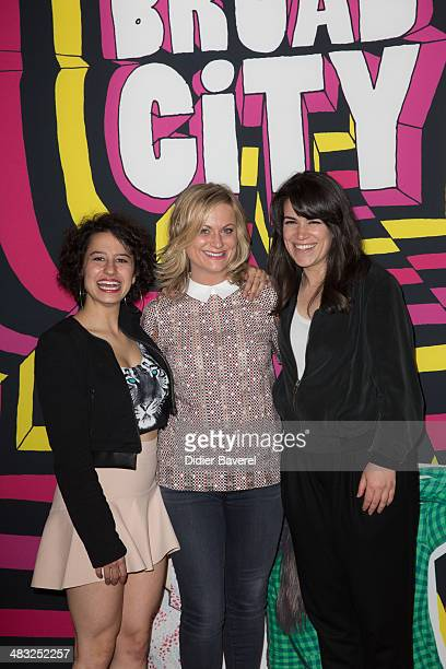Ilana Glazer Amy Poehler and Abbi Jacobson pose during the photocall of 'Broad City' at MIPTV 2014 at Hotel Majestic on April 7 2014 in Cannes France