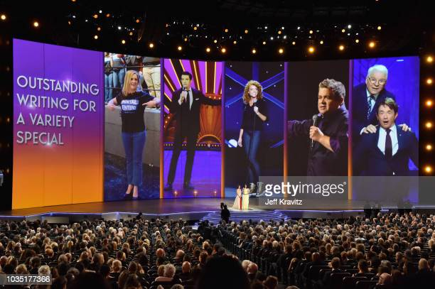 Ilana Glazer and Abbi Jacobson present the award for Outstanding Writing for a Variety Special onstage during the 70th Emmy Awards at Microsoft...