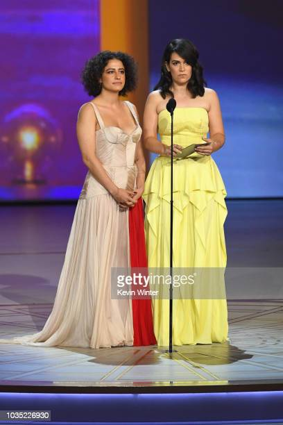 Ilana Glazer and Abbi Jacobson speak onstage during the 70th Emmy Awards at Microsoft Theater on September 17 2018 in Los Angeles California