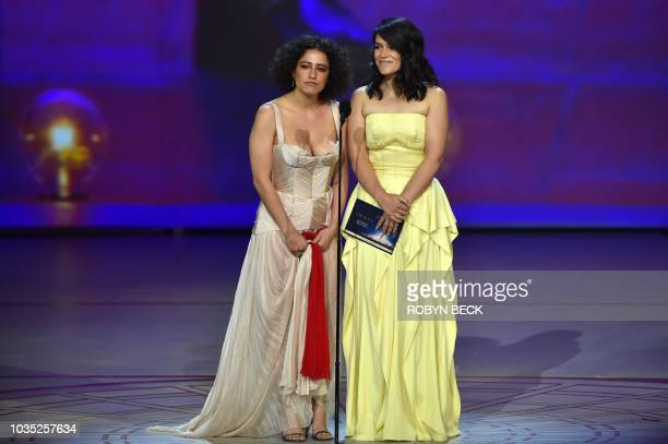 Ilana Glazer and Abbi Jacobson speak onstage during the 70th Emmy Awards at the Microsoft Theatre in Los Angeles California on September 17 2018