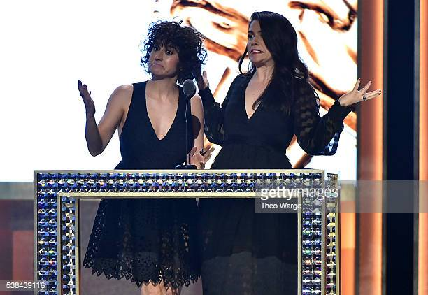 Ilana Glazer and Abbi Jacobson speak onstage to present the award for Accessory Designer of the Year at the 2016 CFDA Fashion Awards at the...