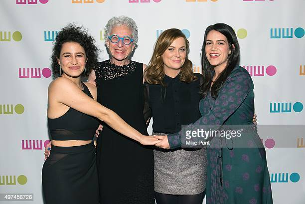 Ilana Glazer Dr Jane Aronson Amy Poehler and Abbi Jacobson attend the 2015 Worldwide Orphan Gala at Cipriani Wall Street on November 16 2015 in New...