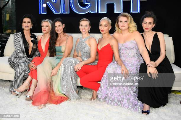 Ilana Glazer Kate McKinnon Demi Moore Scarlett Johansson Zoe Kravitz Jillian Bell and Lucia Aniello attend the 'Rough Night' premeire at AMC Loews...